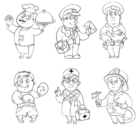 Professions Cook, postman, policeman, boxer, doctor, fireman  Coloring book  Vector illustration  Isolated on white background