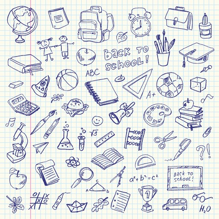 Photo for Freehand drawing school items on a sheet of exercise book  Back to School  Vector illustration  Set - Royalty Free Image