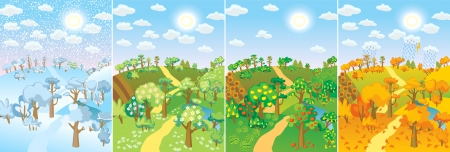 Illustration pour Four seasons. Concept of life cycle in nature. Images of beautiful natural landscapes at different time of the year - winter spring, summer, autumn. Vector illustration - image libre de droit