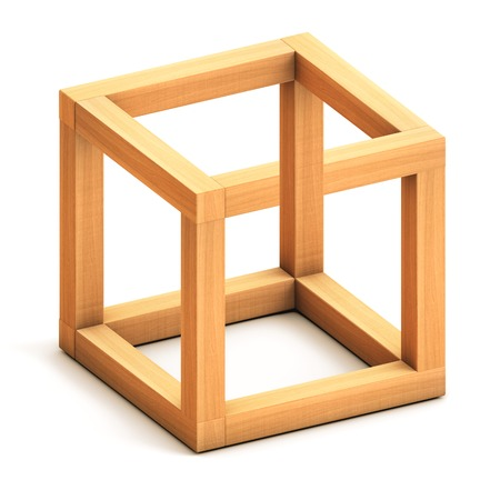 Impossible cube. Optical illusion. Impossible geometrical figure
