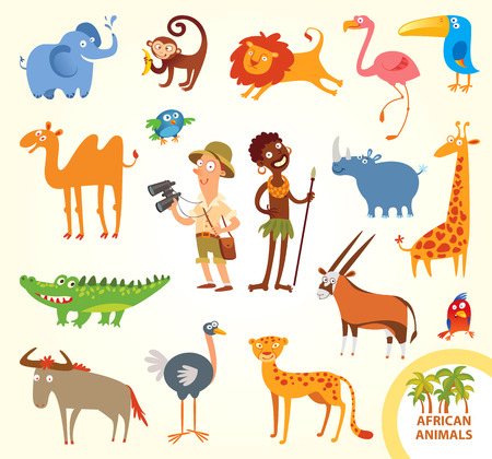 Set funny african animals.