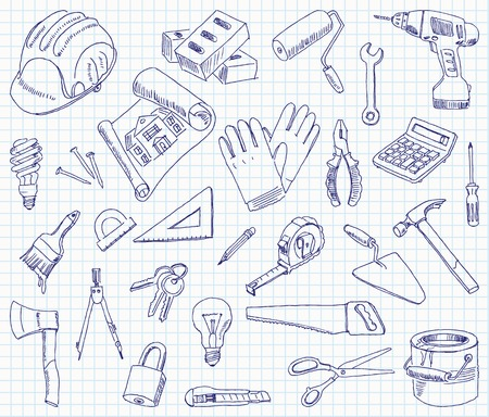 Freehand drawing building materials on a sheet of exercise book.