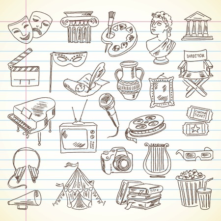 Freehand drawing Culture and Art items on a sheet of exercise book.