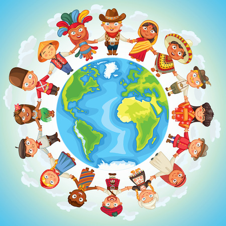 Multicultural character on planet earth cultural diversity traditional folk costumes