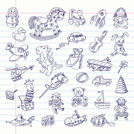 Freehand drawing retro toys items on a sheet of exercise book.