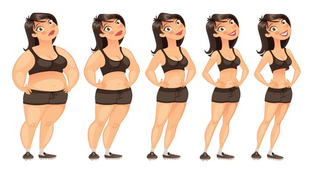 Stages of weight loss of a young woman from fat to slim.