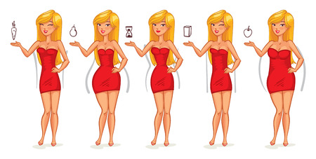 Photo pour Five types of female figures. Body shapes. Funny cartoon character. Vector illustration. Isolated on white background - image libre de droit