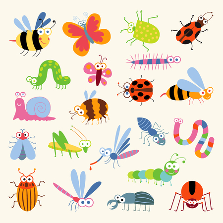 Set funny insects. Cartoon character. Isolated on white background. Wasp, bee, bumblebee, butterfly, worm, caterpillar, beetle, ladybug, grasshopper, fly, mosquito, dragonfly, spider, snail, ant
