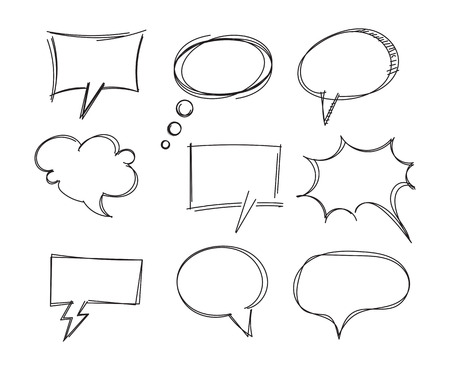 Illustration pour Freehand drawing bubble speech items. Pencil drawing. Isolated on white background. Vector illustration. Set - image libre de droit