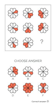 Illustration pour IQ test. Choose correct answer. Logical tasks composed of geometric shapes. Vector illustration - image libre de droit