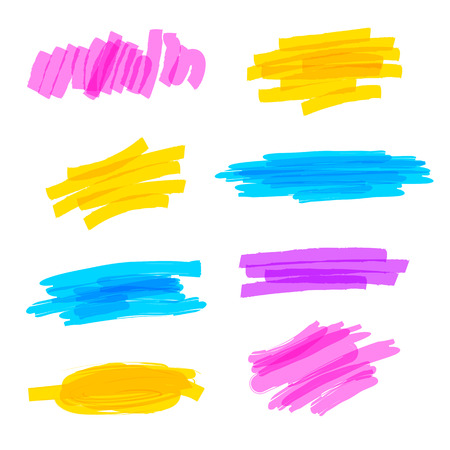 Illustration pour Set of hand drawn colorful highlighter stripes, strokes and marks. Abstract brush strokes. Vector illustration. Isolated on white background - image libre de droit