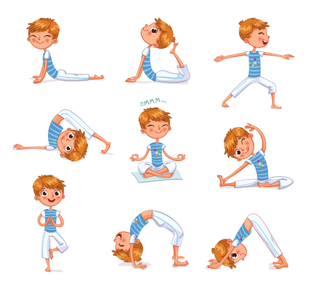 Ilustración de Boy engaged in physical exercises. Children fitness. Yoga kid. Gymnastics for children. Plays sports. Funny cartoon character. Vector illustration. Isolated on white background - Imagen libre de derechos