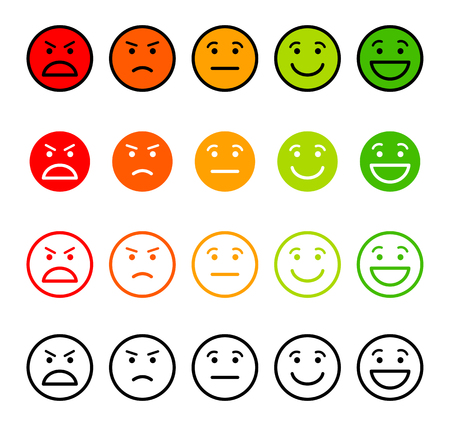 Ilustración de Iconic illustration of satisfaction level. Range to assess the emotions of your content. Excellent, good, normal, bad, awful. Vector illustration. Isolated on white background - Imagen libre de derechos