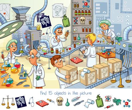 Illustration pour Find 15 objects in the picture with scientist design. - image libre de droit