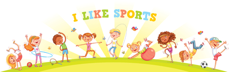 Ilustración de Children are engaged in different kinds of sports on nature background. Children's panorama for your design. Template for advertising brochure or web site. Funny cartoon character. Vector illustration - Imagen libre de derechos