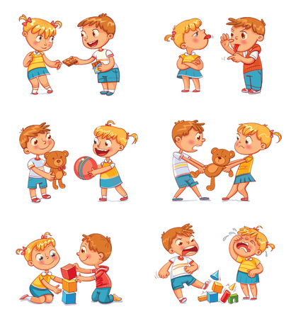 Illustrazione per Good and bad behavior of a child. Brother and sister fighting over a toys. Best friends forever. Funny cartoon character. Isolated on white background. Vector illustration. Set - Immagini Royalty Free