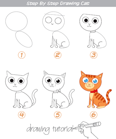 Illustration pour Drawing tutorial. Step by step drawing Cat. Easy to drawing Cat for Children. Funny cartoon character. Vector illustration - image libre de droit