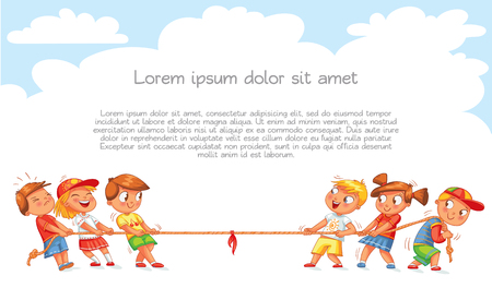 Illustration pour Children pull the rope. Kids playing tug of war. Template for advertising brochure. Ready for your message. Funny cartoon character. Vector illustration - image libre de droit