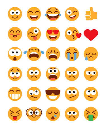 Illustration pour Emoji pack. Set of funny classic emojis. Flat style. Isolated on white background. Vector illustration - image libre de droit
