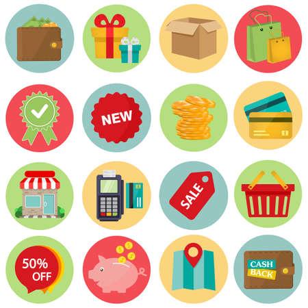Illustration pour Shopping Flat icon set for Web and Mobile Application. vector - image libre de droit