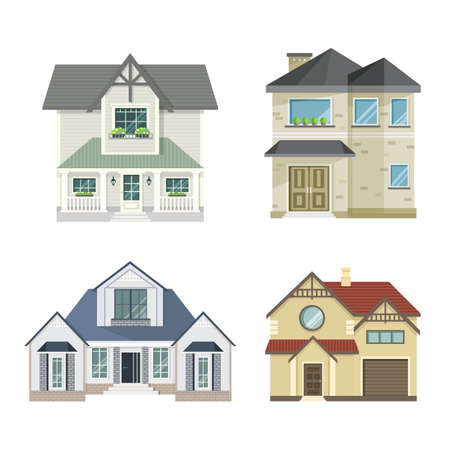 Illustration for Set of 4 different residential town houses - urban architecture. Vector illustration in flat style, isolated on white background. - Royalty Free Image