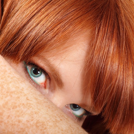 face teen girl beautiful freckles redheaded closeup isolated on white background
