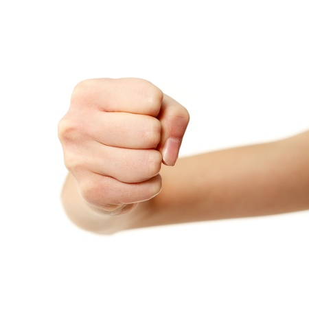 fist gesturing female hands isolated on white background