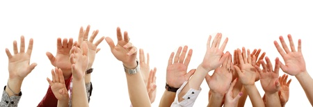 hands up group people isolated on white backround