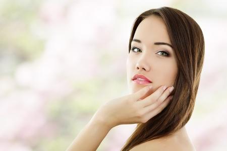 Photo for summer teen girl beautiful cheerful enjoying isolated on white background - Royalty Free Image