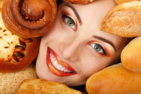 woman beauty face with bread bun patty baking food frame