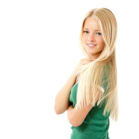 Photo for teen girl beautiful cheerful enjoying isolated on white background - Royalty Free Image