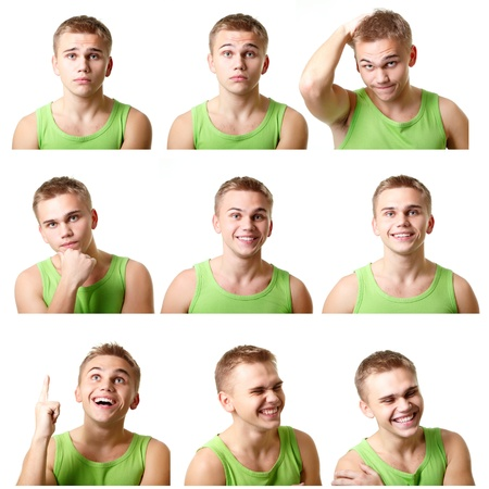 young man emotional faces, expressions set over white background