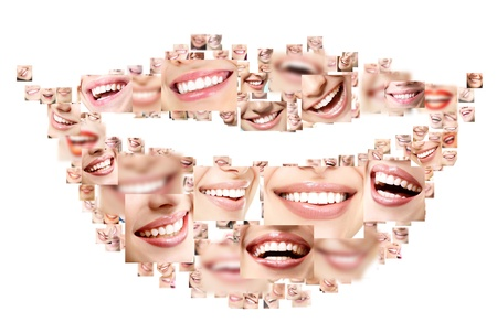 Smile collage of perfect smiling faces closeup. Conceptual set of beautiful wide human smiles with great healthy white teeth. Isolated over white background
