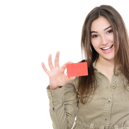 Photo pour beautiful friendly smiling confident girl showing red card in hand, over white background - image libre de droit