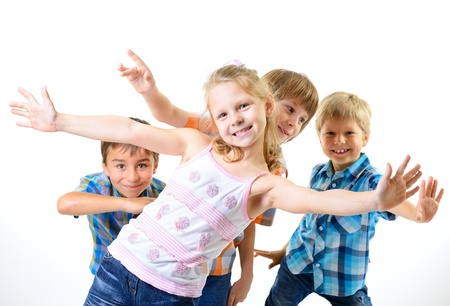 happy smiling children friends have fun, isolated on a white background