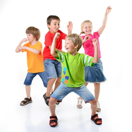 happy children dancing on a white background, healthy life, kid's togetherness and happiness conccept