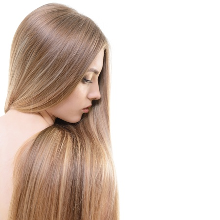 Hair. Beautiful bond girl with healthy long hair. Haicare and hairstyle.