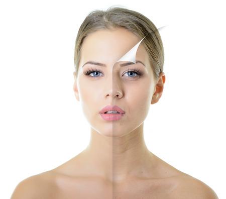 Foto de portrait of beautiful woman with problem and clean skin, aging and youth concept, beauty treatment - Imagen libre de derechos