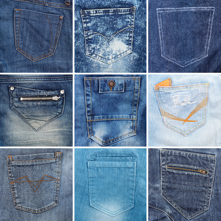 collection of different jeans pocket