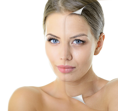 Photo pour Aging and youth concept, beauty treatment, portrait of beautiful woman with problem and clean skin over white - image libre de droit