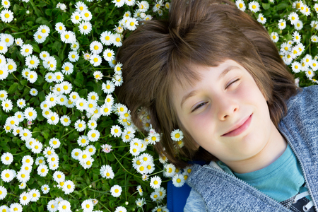 Handsome happy smiling young boy lying on summer meadow green grass with daisy. Attractive smiling teen boy posing over nature background