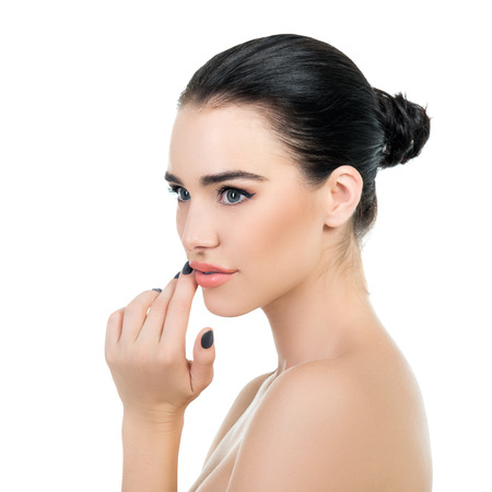 Photo pour Majestic woman's beauty. Portrait of beautiful girl over white background. Beauty treatment, cosmetology, spa, health care, body and skin care concept. - image libre de droit