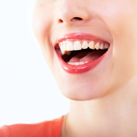 Photo for Laughing woman, female mouth with great teeth over white background. Healthy beautiful smile. Teeth health, whitening, prosthetics and care. - Royalty Free Image