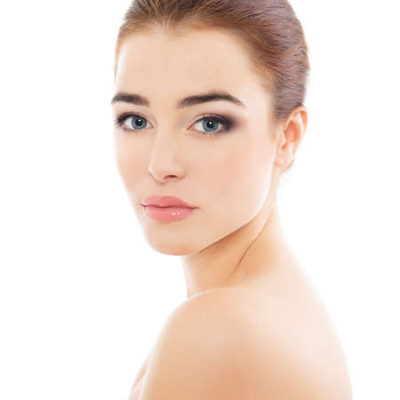 Photo pour Portrait of beautiful calm woman with young clean healthy skin, studio shot isolated on white background. Anti-aging and beauty treatment. - image libre de droit