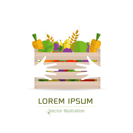 Foto für Fresh Fruits and vegetables in a box. Wooden box with garden vegetables. Natural, healthy food concept. Organic vegetables collected in hand hug concept. Vegetables from the farm. - Lizenzfreies Bild