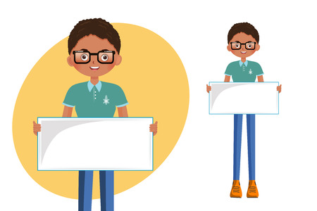 cute little boy student holding an empty banner on a white background Vector  Illustration