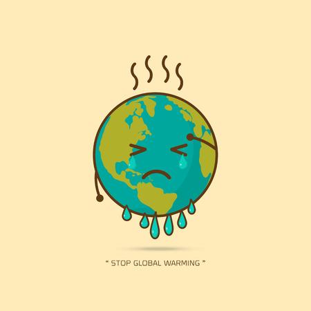 Ilustración de Stop global warming. cartoon character of Planet earth  on yellow background vector illustration. - Imagen libre de derechos