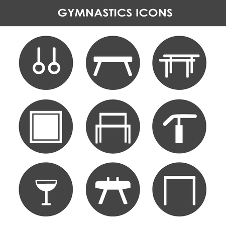 Line icon collection with artistic gymnastics equipment.