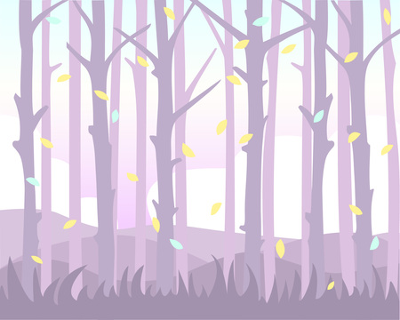 Illustration pour Magical background with falling leaves among the trunk of trees. Pastel shades. - image libre de droit