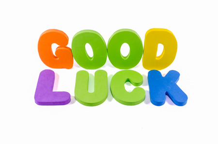 good luck words colorful on white background